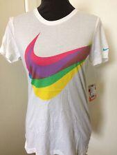 White Nike Women's T-Shirt Swoosh Through Cotton Top  UK XS S M L 459584-100