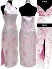 Robe de Soirée Chinoise Qi-Pao Rose Trèfle  Dos Décolleté Satin Tailles au choix