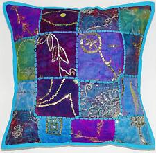 Cotton Bohemian Pillow Cover Handmade Boho Hippie Cushion Case Zari Patch Work