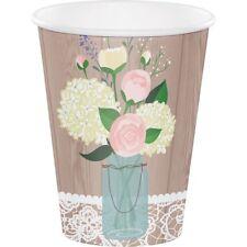 Rústico Boda | Flores | rosa | Mason Jar | 354ml Papel Fiesta Tazas 1-48pk