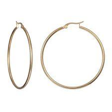 1Pair Cool Fashion Womens Simple Stainless Steel GoldSilverBlack Hoop Earrings