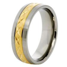 7mm Titanium Ring Men's Women's Wedding Band Gold Strip Center Inlay