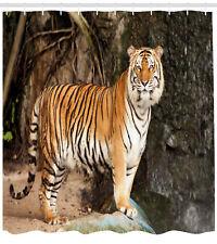 Tiger Shower Curtain Alert Angry Royal Feline Print for Bathroom