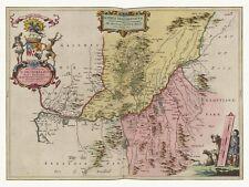 Old Vintage Antique Dumfries Scotland decorative map Blaeu ca. 1655