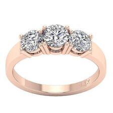 Three Stone Wedding Ring 1.50Ct I1 H Round Diamond Prong Setting 14Kt Rose Gold