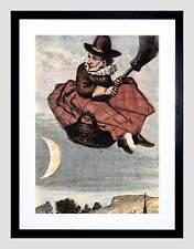 Pintura Bruja Halloween Espeluznante Marco Negro Imagen de Impresión Arte Enmarcado B12X9750