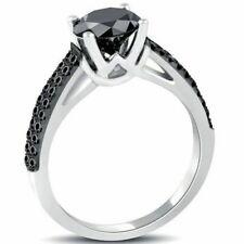 2.40 ct Black Round Diamond Engagement Ring