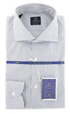 New $600 Luigi Borrelli Gray Shirt - Extra Slim - (EV0653430NANDO)