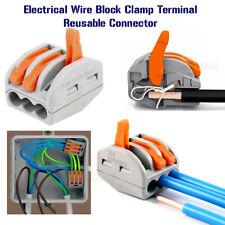 Connettori Elettrici Filo Blocco Morsetto terminale cavo 12V 240V Riutilizzabile 3Way UK