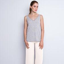 NEW Striped cotton cashmere tank - white/grey Women's by CASHMERISM