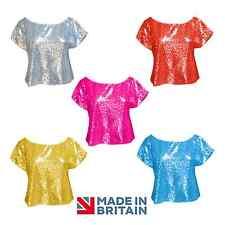 Ladies HEN WEEKEND 70'S DISCO Sparkle Crop TSHIRT Top DANCE STAGE SHOW costume