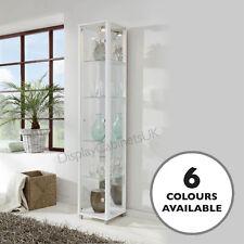 HOME Single Glass Display Cabinet White Mirror Back Light Lockable Option