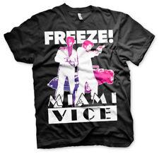 Miami Vice Freeze! Crockett Tubbs 80s Tv Serie T-Shirt Männer Men Schwarz