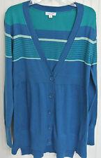 Liz Lange Sweater Pretty Boyfriend cotton blend Cardigan Blue color block stripe