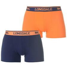 UOMO LONSDALE boxer pantaloncini intimo confezione da 2 Navy e arancione