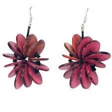 NEW! Fuschci/Purple Tagua Nut Pirced Earrings Handmade in Colombia Fair Trade
