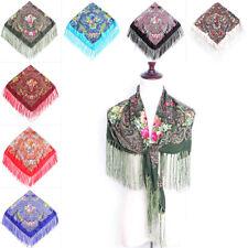 Women Floral Tassel Fringed Neck Scarf Shawl Boho Bohemia Pashmina Scarves UK