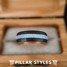 18K Rose Gold Meteorite Ring Mens Wedding Band Unique Black Tungsten Ring