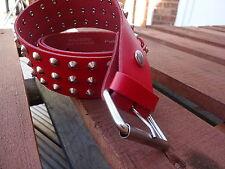 Cuero Real Rojo 3 Row cónico Tachonado Hebilla de cinturón 50 mm 2 in (approx. 5.08 cm) Desmontable