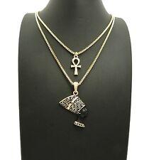 """Mini Ankh, Nefertiti Pendant 18"""",20"""",24"""" Box Chain Hip Hop 2 Necklace Set RC2611"""