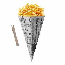 Salt 10 News Print Chip Shop Cones Wooden Forks 5 Vinegar 5 Ketchup