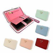Larga señoras de moda billetera cartera soporte para teléfono de tarjeta botón de Embrague Bolso de mano bolso caso