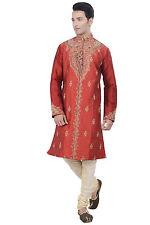 Indian Design Red Kurta Sherwani for Men 2pc Suit - Worldwide Postage