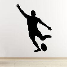 Rugby jugador de arte de pared calcomanía-Kicking Jugador outline/silhouette-Etiqueta De Vinilo