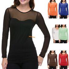Women Seamless Sheer Long Sleeve Mesh Top Sweetheart Neckline Blouse Tops Shirt