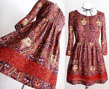 NEW Forever 21 Rust Eggplant Autumn Crochet Lace Trim 3/4 Sleeves Bohemian Dress