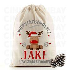 Christmas Eve Santa Sack Gift Bag | Cute Reindeer | Personalised