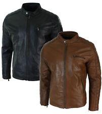 Para hombres Calce Ajustado Negro De Cuero Marrón Tostado verdadero Biker Chaqueta Con Cremallera Vintage Retro