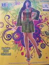 Hippie Damenkostüm Kleid und Stirnband S/M & L/XL Karnevalskostüm Karneval Peace