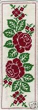 Grille point de croix - MARQUE-PAGE - ROSES ANCIENNES - réf : 6506