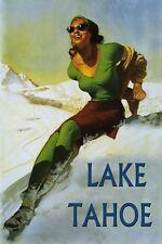 Lake Tahoe Ski Vintage Poster Lady Winter Snow Skiing Reproduction FREE S/H