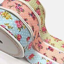 Bertie's Bows Floral Lunares Cinta De Borde Cortado 25mm-Vendido por metros
