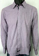 English Laundry Shirt Blaque Label Style ELW 1215 Poynton Purple Check Cotton