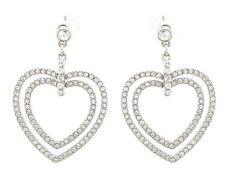 Zest Swarovski Crystal Double Heart Earrings for Pierced Ears