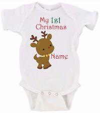 CUSTOM My 1st Christmas Baby Reindeer Gerber Onesie Short Sleeve and Long Sleeve