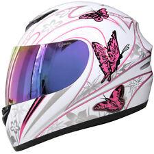 Casque Moto Casque Intégraux Crash Rosa Papillon Leopard + Iridium Visor