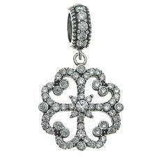 Sterling Silver CZ Crystal Flower Clover Luck Dangle for European Charm Bracelet