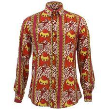 Camisa Hombre Loud Originales Ajustado Pez Rojo Retro Psicodélico Elegante