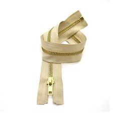 High Quality Beige Metal Brass Teeth Open Ended Zipper No 5 ✄ 40cm - 85cm ✄