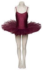 Tutù Ballerina Bordeaux Paillette Danza Balletto Ballo Bimba Donna Bambina Body