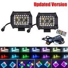 "Set 2/4/6 4 inch Led Work Light 3X3"" Pods w/ RGB Halo Chasing & Free Wiring Kit"