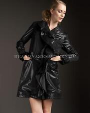 Jane Post Ruffle Rain Trench Coat Size Large $375