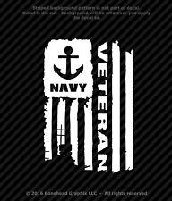 Distressed Navy Veteran Flag Vinyl Decal Military Window Sticker - 4 Sizes