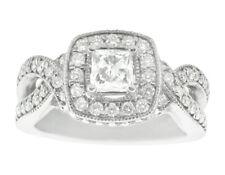 Genuine 1.60Ct Princess Diamond Halo Engagement Ring 18K Gold