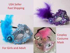 Girls & Women Peacock Feather Mask Fluff Venice Princess Masquerade Party Mask O