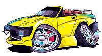 Truimph TR7 TR8 Cabrio Yellow Cartoon t-shirt british bmc leyland sizes S-3XL